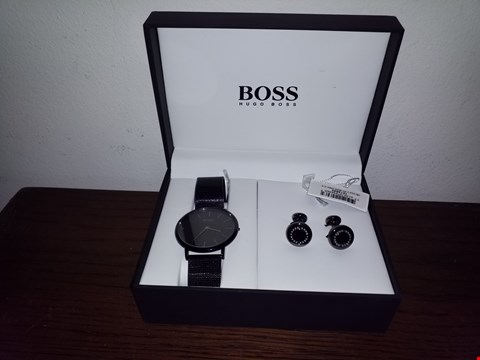 Lot 9268 HUGO BOSS DIAL BLACK MESH STRAP MENS WATCH AND CUFFLINK GIFT SET RRP £259.00