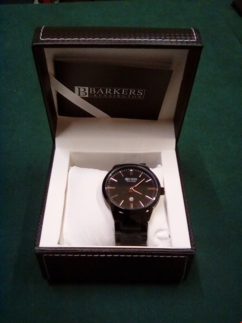 Lot 1080 BRAND NEW BOXED BARKERS OF KENSINGTON ENTOURAGE BLACK/ROSE GOLD GENTS WRIST WATCH WITH FIVE YEAR MANUFACTURERS WARRANTY RRP £385