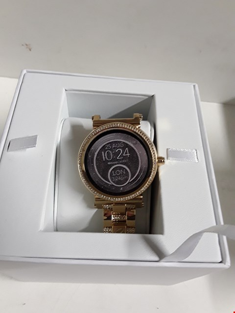 Lot 22 MICHAEL KORS ACCESS SOFIE GOLD PAVE STAINLESS STEEL DISPLAY SMARTWATCH RRP £529