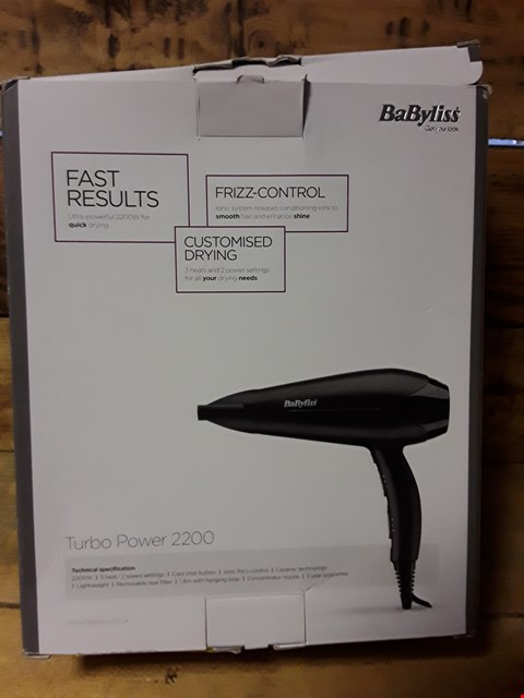 Lot 44 BOXED BABYLISS TURBO POWER 2200 HAIR DRYER