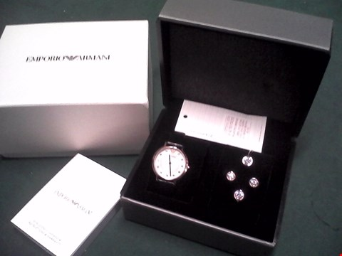 Lot 1552 BOXED EMPORIO ARMANI ROSE GOLD MATCHING LEATHER STRAP WATCH, EARRING AND BRACELET SET RRP £249