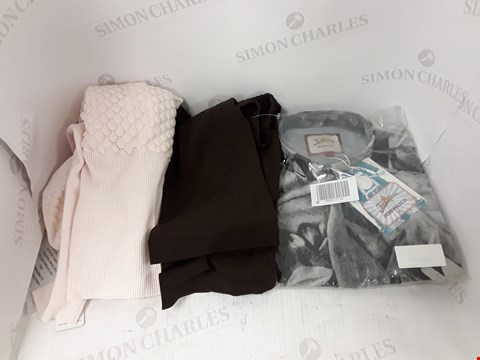 Lot 802 BOX OF APPROXIMATELY 20 ASSORTED DESIGNER CLOTHING ACCESSORY ITEMS TO INCLUDE JOE BROWNS SHIRT, DESIGNER PINK JUMPER, DESIGNER DARK BROWN TROUSERS ETC