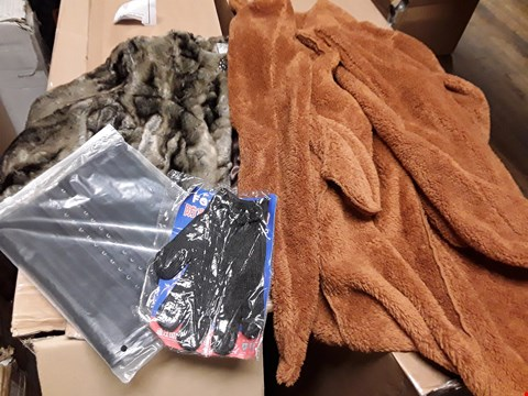 Lot 1120 BOX OF ASSORTED CLOTHING ITEMS, INCLUDING, FAUX FUR SHORT JACKET, UNLINED ORANGE JACKET, CORSET, GLOVES,