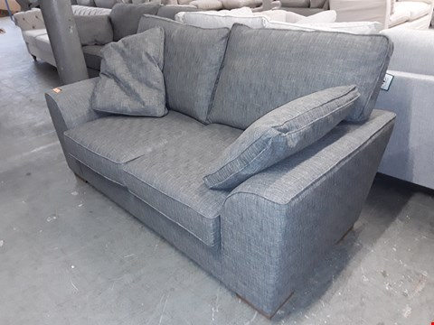Lot 256 QUALITY BRITISH DESIGNER GREY WEAVE FABRIC 2 SEATER SOFA WITH STORAGE