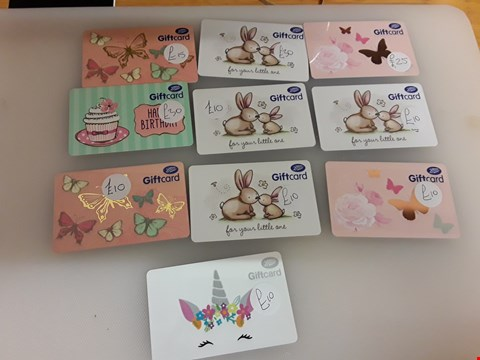 Lot 61 10 ASSORTED BOOTS GIFT CARDS TOTAL VALUE £160