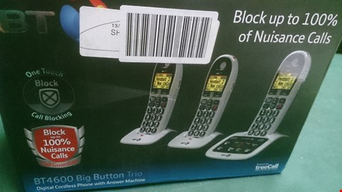 Lot 1531 BT 4600 BIG BUTTON TRIO DIGITAL CORDLESS HOME PHONE WITH ANSWERPHONE  RRP £109.99