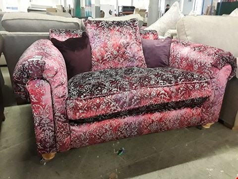 Lot 87 QUALITY BRITISH DESIGNER RED/GREY FLORAL VELVET FABRIC SCROLL ARM SNUGGLE CHAIR ON CHROME CASTORS