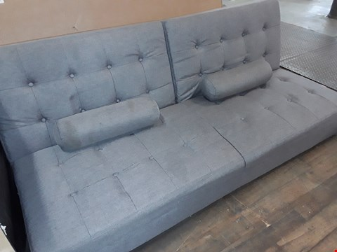 Lot 3093 DESIGNER GREY FABRIC SOFA BED WITH BUTTON DETAIL