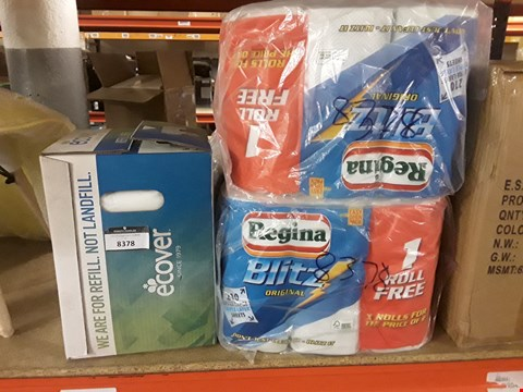 Lot 8378 LOT OF 3 ASSORTED HOUSEHOLD ITEMS TO INCLUDE 2 PACKS OF REGINA BLITZ ORIGINAL KITCHEN ROLL AND A BOX OF ECOVER FABRIC SOFTENER