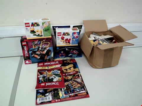 Lot 8028 LOT OF 6 LEGO ITEMS TO INCLUDE NINJAGO 71706 COLE'S SPEEDER CAR, SUPER MARIO 71371 PROPELLER MARIO AND BOX OF ASSORTED LEGO BRICKS