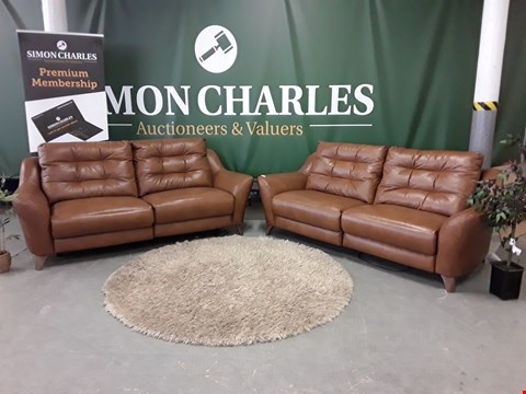 Lot 3012 QUALITY BRITISH MADE, HARDWOOD FRAMED BROWN LEATHER PAIR OF POWER  RECLINING 3 SEATER SOFAS