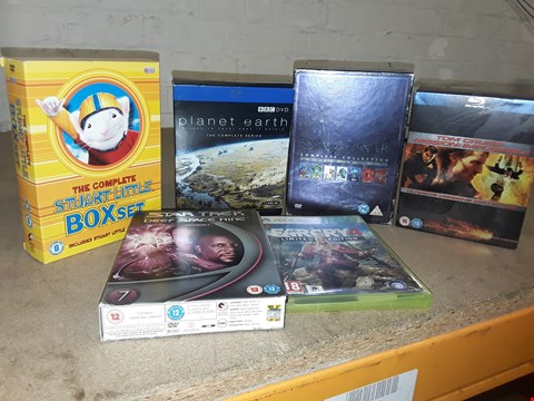 Lot 4149 JOB LOT OF ASSORTED CD/DVD BOXSETS , BOOKS AND GAMES TO INCLUDE PLANET EARTH, PIXAR, FAR CRY 4 (4 BOXES)