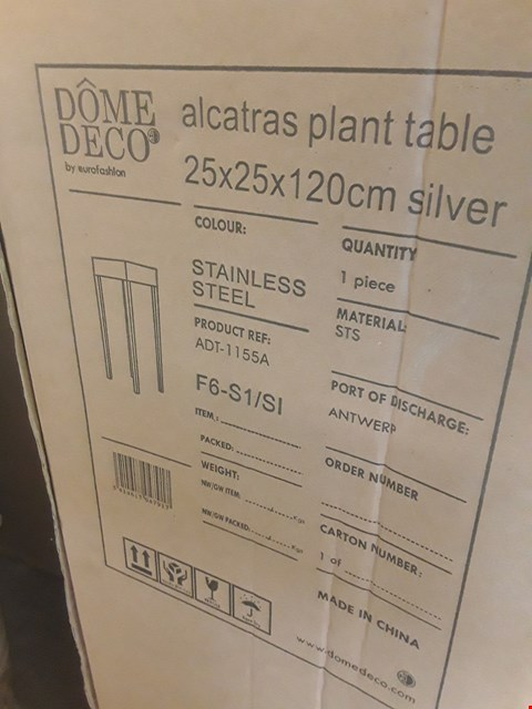 Lot 397 BOXED DESIGNER ALCASTRAS STAINLESS STEEL PLANT STAND