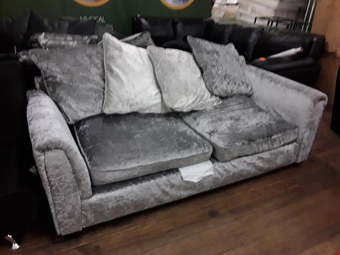 Lot 2088 DESIGNER SILVER CRUSHED VELVET 2 SEATER SOFA WITH SCATTER BACK CUSHIONS