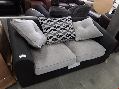 Lot 31 DESIGNER LIGHT AND DARK GREY FABRIC 2 SEATER SOFA WITH SCATTER CUSHIONS
