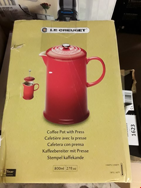 Lot 1621 LE CREUSET COFFEE POT WITH PRESS