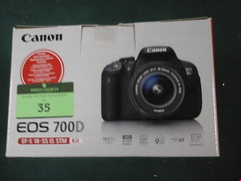 Lot 35 GRADE 1 BOXED CANON EOS 700D 18-55MM DIGITAL CAMERA RRP £1019