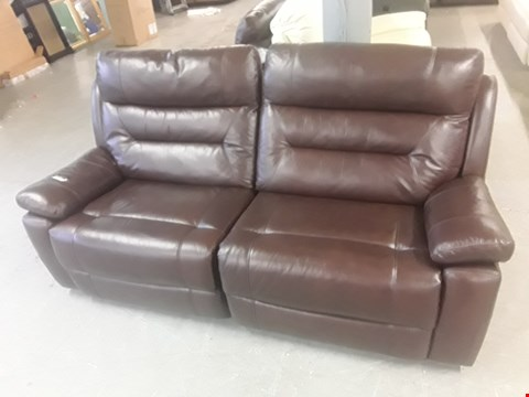 Lot 653 QUALITY MADE LINCOLN CHESTNUT HIDE MATCH LEATHER MANUALLY RECLINING THREE SEATER SOFA  RRP £1599.99