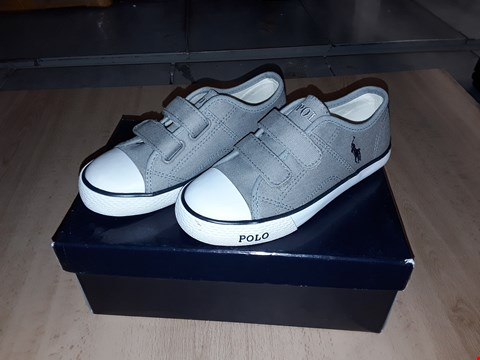 Lot 12471 BOXED POLO RALPH LAUREN GREY DAYMOND EZ TRAINERS UK SIZE 11.5 JUNIOR