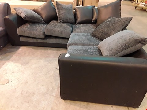 Lot 121 DESIGNER BLACK FAUX LEATHER & CHARCOAL FABRIC CORNER SOFA WITH SCATTER CUSHIONS