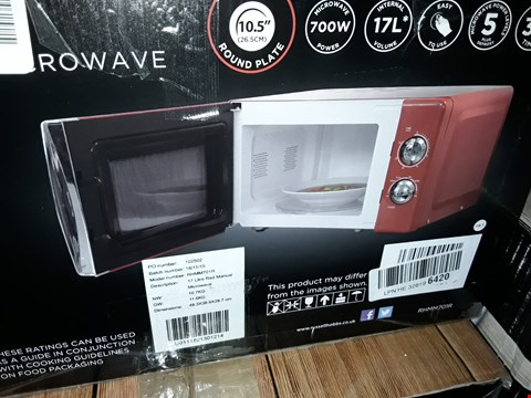Lot 535 RUSSELL HOBBS COLOURS + RED COMPACT MANUAL MICROWAVE