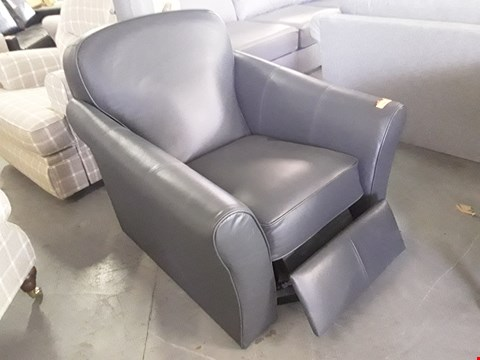 Lot 162 QUALITY BRITISH DESIGNER ABBEY CHARCOAL LEATHER PUSH BACK RDCLINING EASY CHAIR