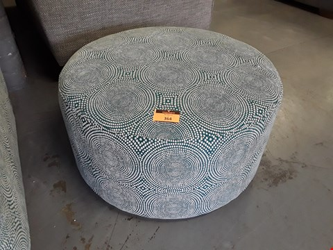 Lot 364 QUALITY BRITISH DESIGNER HARRISON LARGE CIRCULAR FOOTSTOOL UPHOLSTERED IN KATERI PEACOCK FABRIC RRP £329