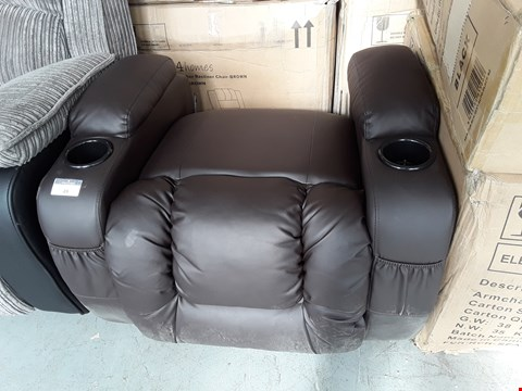 Lot 49 DESIGNER CAESAR BROWN LEATHER MASSAGE SWIVEL ROCKER RECLINING EASY CHAIR ( BASE ONLY) RRP £399.99