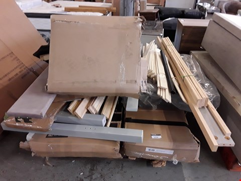 Lot 64 PALLET OF ASSORTED FLAT PACK FURNITURE PARTS TO INCLUDE BED PARTS ETC