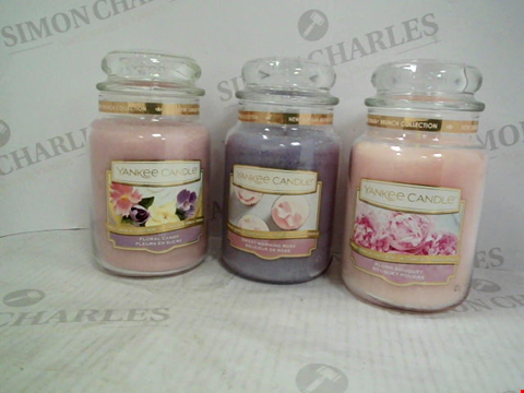 Lot 1207 1 LARGE JAR BLUSH BOUQUET YANKEE CANDLE, A LARGE JAR SWEET MORNING ROSE YANKEE CANDLE AND A LARGE FLORAL CANDY YANKEE CANDLE