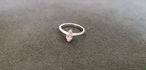 Lot 75 18CT WHITE GOLD SOLITAIRE RING SET WITH MARQUISE CUT DIAMOND WEIGHING +0.52CT  RRP £2700.00