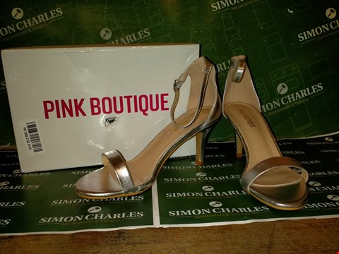 Lot 137 BOXED PINK BOUTIQUE PARTY GAL SILVER BARLEY HERE HIGH HEELS  - SIZE 38 EU