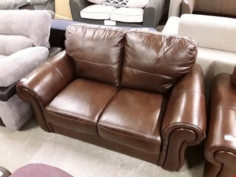 Lot 20 DESIGNER BROWN FAUX LEATHER 2 SEATER SOFA