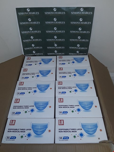 Lot 8029 LOT OF 2500 DISPOSABLE THREE-LAYER NON-MEDICAL FACE MASKS (50 BOXES OF 50)