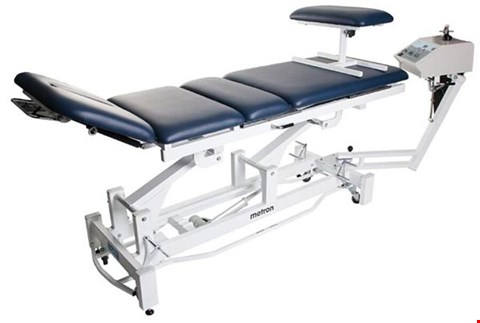 Lot 1005 BRAND NEW METRON T8575 ELITE TRACTION TABLE WITH SURROUND BAR, 60CM WIDE, BALMAIN BLUE