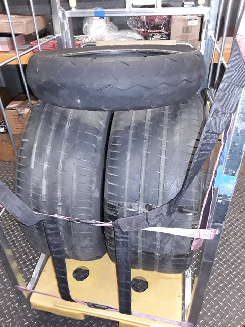 Lot 8420 CAGE CONTAINS 3 VEHICLE TYRES INCLUDES 2X P-ZERO CAR TYRES AND 1X MICHELIN PILOT ACTIVE SLIM TYRE