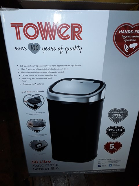 Lot 367 TOWER 50L SQUARE SENSOR BIN IN BLACK  RRP £75