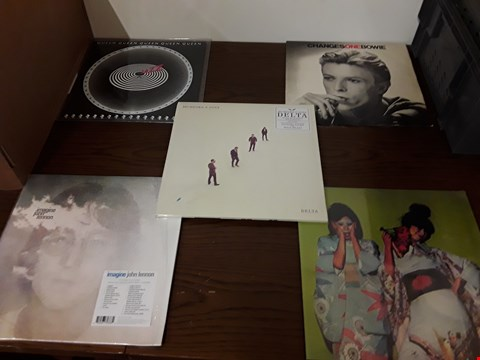 Lot 1031 LOT OF 10 ASSORTED VINYL RECORDS TO INCLUDE; QUEEN, JOHN LENNON, DAVID BOWIE, SPARKS ETC