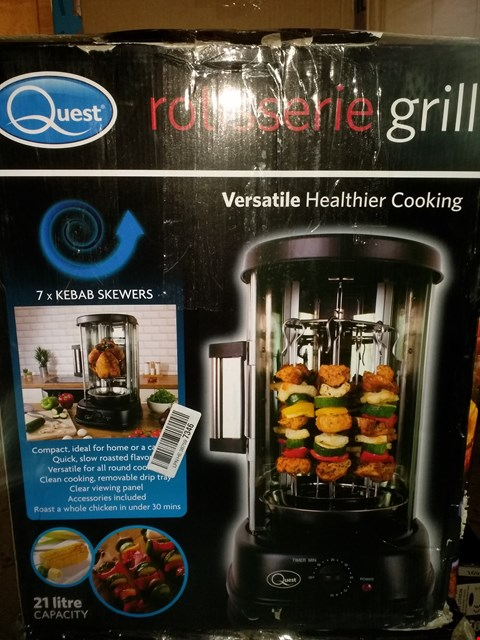 Lot 1676 QUEST 34020 ELECTRIC ROTISSERIE GRILL FOR KEBABS, SKEWERS AND ROASTS, 1500 W