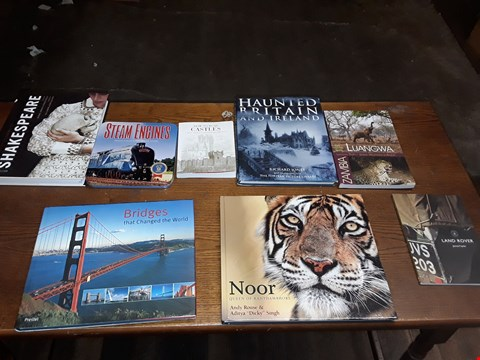 Lot 161 LOT OF APPROXIMATELY 8 ASSORTED BOOKS TO INCLUDE NOOR QUEEN OF THE RANTHAMBHORE, HAUNTED BRITAIN & IRELAND AND STEAM ENGINES RELIVE THE GOLDEN ERA OF STEAM ECT