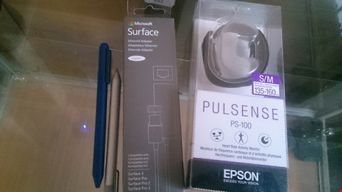 Lot 8 4 ITEMS TO INCLUDE EPSON  PLUSENSE,  MIRCOSOFT SURFACE PRO PENS AND A ETHERNET ADAPTER