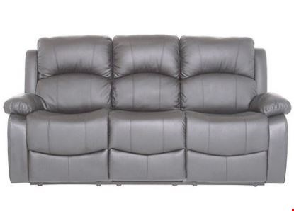 Lot 572 BOXED GREY FAUX LEATHER RECLINING 3 SEATER SOFA