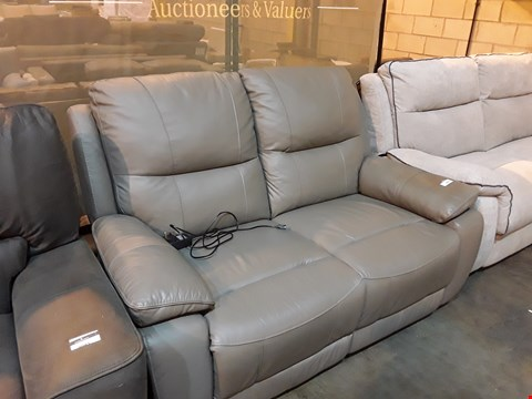 Lot 9042 DESIGNER GREY LEATHER POWER RECLINING TWO SEATER SOFA
