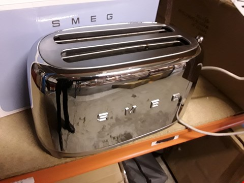 Lot 9 BOXED SMEG 4 SLICE TOASTER SILVER CHROME  RRP £179.00