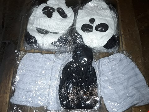 Lot 1116 BOX OF APPROXIMATELY 70 ASSORTED BRAND NEW HATS TO INCLUDE KNITTED PANDA HAT, GREY KNITTED BEANIE