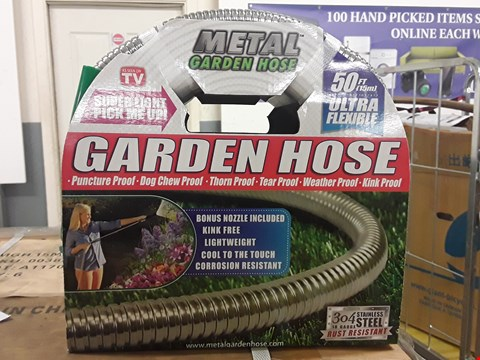 Lot 3616 BOX OF APPROXIMATELY 6 x ULTRA FLEXIBLE SUPER STRONG METAL GARDEN HOSE 50FT