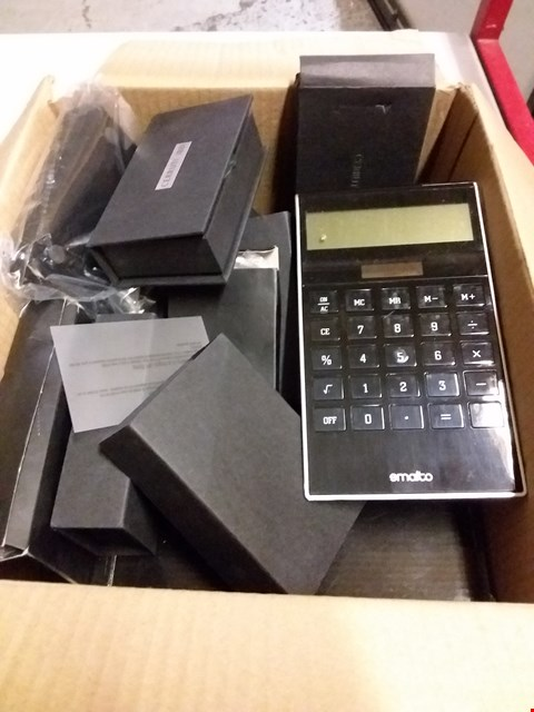 Lot 12848 BOX OF ASSORTED ITEMS TO INCLUDE CALCULATORS, CARD READERS, USB STICKS ETC