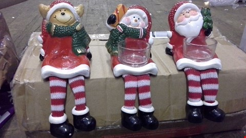 Lot 370 SANTA SNOWMAN AND DEER TEA LIGHT HOLDERS  RRP £20.00