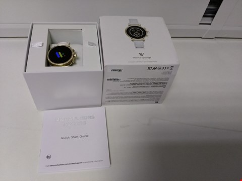 Lot 2094 MICHAEL KORS SOFIE FULL DISPLAY GOLD GLITZ DIAL WHITE SNAKE SILICONE STRAP LADIES SMART WATCH RRP £429.00