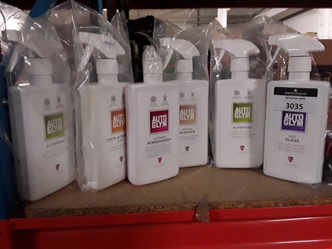 Lot 3035 SIX BOTTLES AUTO GLYM PRODUCTS, INCLUDING, SCREENWASH, FAST GLASS, AUTO FRESH, VINYL CARE, LEATHER CLEANER.